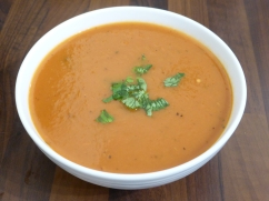 Butternut squash and char grilled pepper soup