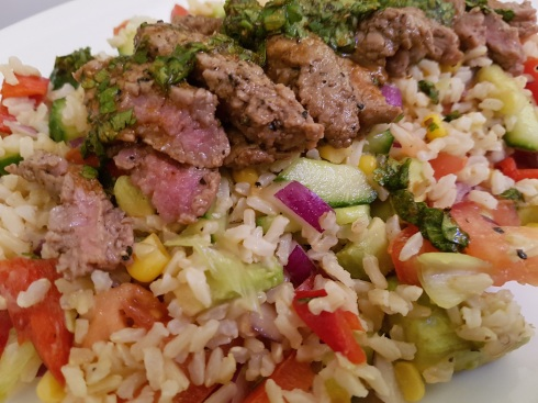 Grilled beef rice salad