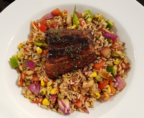 Blackend Soy Salmon with rice salad